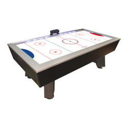 "DMI Sports - 90"" Lighted Rail Air Hockey Table - Features: -Whole new level of excitement to the game of Air Hockey. -Interactive lighting system that responds to scoring changes. -Red, white and blue trailing lights bring the table to life and then track the score. -LEDs flash red and stay red indicating who is in the lead. -LEDs flash blue and then return to white signaling the score is even again. -Blue LEDs flash and remain on until the score changes to take the lead. -Deep apron design like traditional arcade tables. -Full aluminum top and bottom rails. -Super slick scratch resistant playing surface and a powerful blow motor for even air distribution, plus pucks and pushers. -Assembly Required. -Dimensions: 32"" H x 89.5"" W x 48"" D."