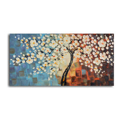 "Textured cherry blossom Hand Painted Oil Painting - Size: 20"" x 40"""
