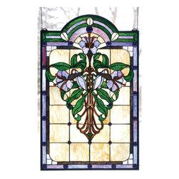 Meyda - 22 Inch W X 35 Inch H Nouveau Lily Window Windows - Color Theme: Beige Green Pbag Purple Purple/Blue
