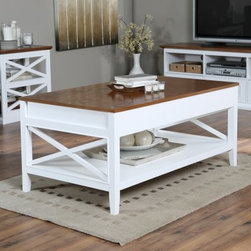 Belham Living Hampton Lift Top Coffee Table - White/Oak - Smart and stylish, the Hampton Lift Top Coffee Table - White/Oak blends Craftsman style with modern conveniences. This coffee table looks like a timeless classic. It's crafted of solid wood with and a Craftsman style X design, lower shelf, tapered legs, and an oak veneer top. Its country-fresh finish features a white base with natural oak top. Just this is no ordinary coffee table, this one has a handy lift-top mechanism so with a gentle lift the top comes up giving you space to eat, write, or use your laptop or tablet. With the lid lifted you'll find plenty of organized storage space within. Now that's convenient!About Belham LivingBelham Living builds catalog-quality furniture in traditional styles at a price that actually makes sense. By listening to our customers and working closely with great manufacturers, we build beautiful pieces worthy of your home. Rich wood finishes, attention to detail, and stylish lines that tie everything together are some of the hallmarks of a Belham Living piece. From the living room or bedroom, through the kitchen, and out onto the deck, there's something from an incredible Belham collection perfect for your style.