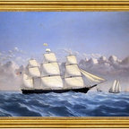 """William Bradford-16""""x24"""" Framed Canvas - 16"""" x 24"""" William Bradford Clipper Ship 'Golden West' of Boston, Outward Bound framed premium canvas print reproduced to meet museum quality standards. Our museum quality canvas prints are produced using high-precision print technology for a more accurate reproduction printed on high quality canvas with fade-resistant, archival inks. Our progressive business model allows us to offer works of art to you at the best wholesale pricing, significantly less than art gallery prices, affordable to all. This artwork is hand stretched onto wooden stretcher bars, then mounted into our 3"""" wide gold finish frame with black panel by one of our expert framers. Our framed canvas print comes with hardware, ready to hang on your wall.  We present a comprehensive collection of exceptional canvas art reproductions by William Bradford."""