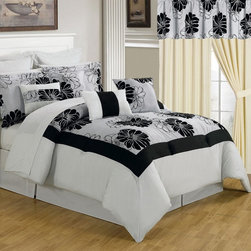 Lavish Home - Lavish Home 25 Piece Room-In-A-Bag Madison Bedroom Set - 66-00011-24PC-K - Shop for Bedding Sets from Hayneedle.com! The best way to get a complete room update the Lavish Home 25 Piece Room-In-A-Bag Rachel Bedroom Set includes everything from window treatments to bedding. Its large-scale florals in contemporary black and white with luxurious flocked details make the collection stunning. Perfect for your guest bedroom or any bedroom! The collection is made of soft polyester and coordinates together perfectly. The comforter is overfilled and oversized for maximum comfort and style. All pieces are machine-washable in cold water; tumble-dry on low.Set Includes:1 Comforter1 Bedskirt: 15D in.2 Pillow shams: 20 x 36 in.3 Euro pillow shams: 26 x 26 in.4 Decorative pillows1 Flat sheet1 Fitted sheet2 Pillowcases4 Window panels: 56 x 84 in.2 Window valances: 84W x 15L in.4 Curtain tie-backsComforter Dimensions:Queen: 92L x 92W in.King: 106L x 92W in.About Trademark Global Inc.Located in Lorain Ohio Trademark Global offers a vast selection of items for your home and lifestyle. Whether you need automotive products collectibles electronics general merchandise home and garden items home decor housewares outdoor supplies sporting goods tools or toys Trademark Global has it at a price you can afford. Decor items and so much more are the hallmark of this company.