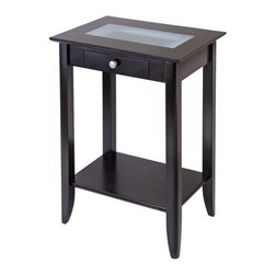 Winsome Trading, INC. - Winsome Wood 92822 Syrah Phone Stand End Table - Our new Syrah series Accent Table with drawer, shelf and frosted glass top is stylish and coordinates with other pieces in the line. At 16.3 deep and 30 high, it s dimensions match those of the console table making an elegant statement for artwork and more. At 22.6 Long, it fits nicely into small spaces. It ships ready to assemble with hardware and tools.