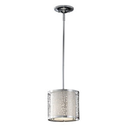 Murray Feiss - Murray Feiss Joplin Contemporary Mini Pendant Light X-HC8121P - As part of the Joplin Collection, this Contemporary Mini Pendant Light features an Off White Linen Shade. The shade is detailed with a square mosaic design. The fixture is then  finished in Chrome for the ultimate contemporary pendant.