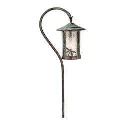 Meyda Lighting - Meyda Lighting Fulton Dragonfly Shepherd's Hook Landscape Fixture - A Verdi Finished Shepherd Hook Landscape Fixture Holds A Handsome American Craftsman Lantern Accented With A Dragonfly. This Fixture Has Clear Raindrop Glass And Is Handcrafted In The USA By Meyda Craftsman.