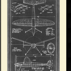 Amanti Art - Vision Studio 'Aeronautic Blueprint III' Framed Art Print 26 x 37-inch - This old style airplane blueprint make a great compliment to a den or office for the aeronautical enthusiast or fans of technical drafting.