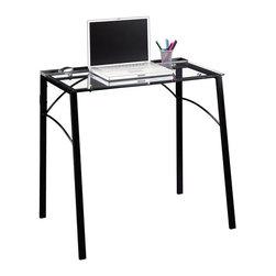 Studio RTA - Sauder Beginnings Desk in Black and Clear Glass - Sauder - Writing Desks - 412756
