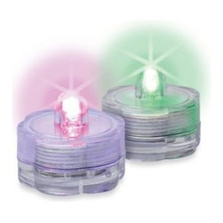 Gerson Company, The - Battery Operated Water Submersible Color Changing LED Tealights (Set of 2) - Spice up the look of vases, water-filled table centerpieces and even ponds or garden water features with these eye-catching water submersible and color changing LED lights. Perfect for adding mood-enhancing illumination to any space or occasion.