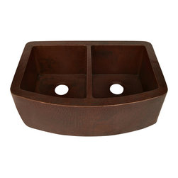 "Artesano Copper Sinks - Curved Apron Front Kitchen Copper Sink - Undermount - Double Basin - Curved Apron Front Kitchen Copper Sink - Undermount - Double Basin - 33 x 22 x 10.5"" - Rim 2"" - Each Basin 14 x 18 x 10""- Drain 3.5"" - Apron Extends 3.5"" on sides"