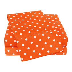 600 Thread Count Full Sheet Set Cotton Rich Polka Dot - Orange - With these Cotton Rich 600 Thread Count Polka-Dot Sheets you can liven up the look of your bedroom. Featuring playful polka dot design on both sides, these sheets create a fun and stylish look that will keep your room looking awesome all year-round. Set includes One Flat Sheet 81x96, One Fitted Sheet 54x75, and Two Pillowcases 20x30 each.