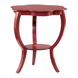Hammary - Hammary 090-389 Hidden Treasures Red Flower Table - Sleek and clean in design, the Hidden Treasures red flower table - 090-389 is a smart furniture choice for your home. Perfect for a multitude of rooms in your home, the Hidden Treasures flower table - 090-392 features curved legs, a storage shelf underneath, and sweeping contoured lines. The Hidden Treasures red flower table - 090-389 comes in three finishes: red, black, and gray. The Hidden Treasures collection is a fabulous assortment of one-of-a-kind accent pieces inspired by the greatest furniture designs from around the world. Each selection is a true treasure rich in old world icons and traditions. All the pieces in this collection are crafted with attention to every detail.