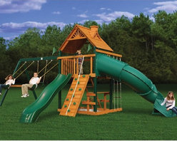 Gorilla Playsets - Gorilla Playsets Blue Ridge Mountaineer Wood Swing Set - 01-0005 - Shop for Swings Slides and Gyms from Hayneedle.com! Additional features10-year warranty on Gorilla Playsets frame1-year warranty on Gorilla Playsets accessoriesSolid 4 x 6-in. swing beamsMaintenance-free vinyl-coated preserved pine structural beamsChoice grade factory-stained wood4 x 6-ft. main fort5-ft. H deckTongue and groove wood roofDeluxe climbing ramp w/ knotted rope2 swings with powder-coated chains1 trapeze bar with powder-coated chainsIron ductile swing hangersClimbing rope ladderBuilt-in picnic tableSandboxClimbing rock wall with ropeRadical Ride II tube slideExclusive Tic-Tac-Toe spinner panel The Gorilla Playsets Blue Ridge Mountaineer Wood Swing Set combines an abundance of play features with outstanding craftsmanship and resilient materials. This swing set is constructed from factory-stained and sealed preserved pine including vinyl-coated preserved pine structural beams all of which are resistant to rot decay and insect damage. These beams are held together securely with galvanized countersunk bolts to resist weather and provide an added element of safety. A 4x6-foot clubhouse play deck features a tongue and groove A-frame wood roof overhead to provide shelter and shade. Below a built-in picnic table provides the ideal place for lunches and snacks.About Gorilla PlaysetsSince 1992 Gorilla Playsets has been designing and selling ready-to-assemble playsets. With a reputation for providing excellent customer service Gorilla Playsets conveniently provides customers with affordable playsets including quality wood components sturdy playset accessories all necessary hardware and clear instructions. Gorilla Playsets always keeps safety in mind while creating inventive durable products that provide children with myriad possibilities for fun and play.