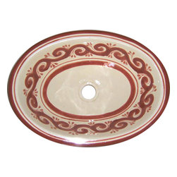 Casa Daya Tile - Made to order Talavera Hand Painted Mexican Sink, Large - The styles are influenced by the beautiful Spanish architecture in the Guanajauto state of Mexico from the time the Spanish inhabited the area starting in the 1520's.