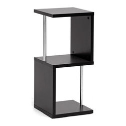 Baxton Studio - Baxton Studio Lindy Dark Brown Modern Display Shelf (2-Tier) - A vertical display shelf saves space while providing a safe haven for your decor, books, memorabilia, and more. Our Lindy Designer Shelving Unit is a contemporary 2-tier storage and display option made of engineered wood, dark brown faux wood grain paper veneer, and chrome-plated steel support beams. This Malaysian creation requires assembly and should be wiped clean with a dry cloth. A 3-tier Lindy Shelf is also offered as well as a matching coffee table (each sold separately).