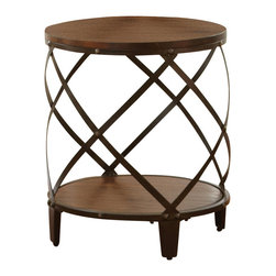 "Steve Silver Furniture - Steve Silver Winston Round End Table in Distressed Tobacco - The modern industrial design of the Winston collection complements both casual and upscale eclectic decor. The Winston round end table stands 24"" high, with a 20"" round wood top, decorative curved metal frame and a bottom shelf for storage. This eye-catching piece complements the Winston cocktail table and sofa table."