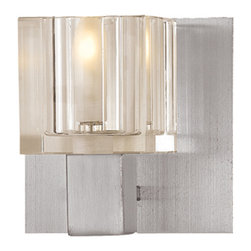 Access Lighting - Access Lighting 23831-BS/FCL Square Crystal Wall/Vanity Light - Access Lighting 23831-BS/FCL Astor Square Crystal Wall/Vanity