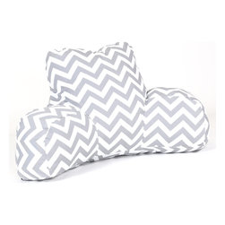 Majestic Home - Outdoor Gray Chevron Reading Pillow - Now you can kick back and relax anywhere, inside or out, with this comfortable and supportive Reading Pillow. The Majestic Home Goods Indoor/Outdoor Reading Pillow provides back and head support that is perfect for many activities such as reading, working on your laptop or lounging with friends. Stuffed with a super loft recycled polyester fiber fill, the reading pillows zippered slipcover is woven from Outdoor Treated polyester and has up to 1000 hours of U.V. protection. The slipcover also zips off and is machine-washable.