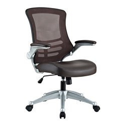 LexMod - Attainment Office Chair with Black Mesh Brown and Leatherette Seat - Taking you where you need when you need it most. The Attainment Office Chair is a form-fitting ergonomic chair made from the most revolutionary advances in seating today. The breathable mesh back is curved to assist back and shoulder posture, while the lower frame provides exemplary lumbar support. With flip up arms, and a waterfall padded leatherette seat, enjoy your work from a place of comprehensive comfort.