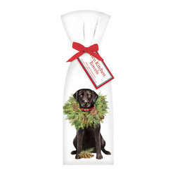 Mary Lake-Thompson Ltd. - Dog with Wreath Towel, Set of 2 - The patient Labrador bedecked in a joyful wreath is sure to bring a smile to your face. Your dog-lover friends (and maybe even you) will delight in receiving these cheerful dish towels.