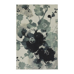 Mohawk Home Watercolor Floral Area Rug - Watercolor prints don't always have to beat you over the head with bold color: Enter the monochrome look of this indigo-hued watercolor rug.