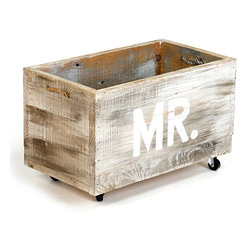 "Small Cart ""Mr."" - An accent for a rustic wedding or the foundation of a salvaged aesthetic in the newlywed bath, the ""Mr."" Small Cart is a charming storage crate in a reclaimed wood finish. Equipped with casters and slot handles, it's as functional as it is appealing for master-suite storage; the bold white stenciling of the owner's title adds a statement charm to the piece."