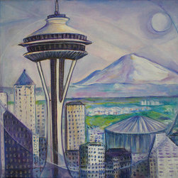 "Seattle Acrylic On Wrapped Canvas (Original) by Shoushan - Original acrylic painting. Painted on the sides. Size: 16"" x 20"" inches x 3/4"" depth. Signed on the back by Shoushan. Shoushan's art is licensed and collected worldwide."