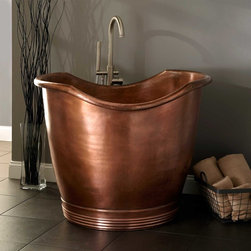 "41"" Teramo Copper Japanese Soaking Tub - Enjoy the tranquility of a deep soak in the extraordinary 41"" Teramo Copper Japanese Soaking Tub, which has a round base and scooped sides."