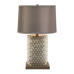 iMax - Nova Oval Beaded Lamp - The Nova oval beaded lamp features rows of clear beads surrounding the base with contrasting metal accents and topped with a soft gray drum shade. Modern and contemporary, this table lamp is the perfect accent to any home.