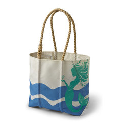 Frontgate - Sea Bags Mermaid Tote - Exclusive design featuring the Frontgate mermaid. Designed to carry on the shoulder, with hardy, hand-spliced natural rope handles. Durable medium-sized tote for carrying groceries or beach essentials. Interior hanging pocket for easy access to keys and other small items. For a trip to the beach or the market, our exclusive Sea Bags Mermaid Tote comfortably carries all your must-haves, along with a little nautical history. Handmade from recycled sails in Portland, Maine, the dyed exterior of each bag celebrates seafaring lore, with a wave graphic printed on both sides and the Frontgate mermaid printed on the front.  .  .  .  . Made in USA.