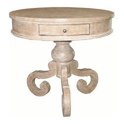 ChateOu Side Table - Grey - The legs supporting the lathe-turned pedestal of the Chateou Side Table fall somewhere between a scrollwork silhouette of the elephant-trunk leg found in Chinese experts and the medieval elegance of the Flemish scroll foot, setting the tone for an elegant curve in this appealing hardwood side table.  A round top bordered by double molding hosts a single shallow drawer for holding essentials in your traditional sitting room.