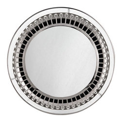 Robert Abbey - Jonathan Adler Mayfair Backlit Mirror - Mayfair Mirror with Light by Jonathan Adler, features a Polished Nickel or Aged Brass finish with crystal accents. One 32 watt, 120 volt T9 Circline type 4 pin base fluorescent bulb is included. UL listed for damp locations. ADA compliant. 28 inch width x 28 inch height x 2.5 inch depth.