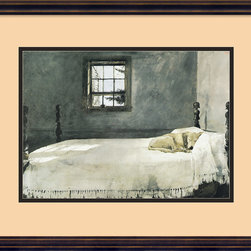Amanti Art - Master Bedroom Framed Print by Andrew Wyeth - Andrew Wyeth's magical brush consistently produced paintings that show remarkable restraint while nonetheless evoking powerful emotions. His considerable talent is on full display in this calming, serene print of a dog napping comfortably on his master's bed on a quiet afternoon. Hang it in the bedroom or living room to add a sweet and beautiful touch to your home.