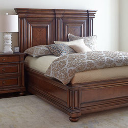 Horchow - Markland Bed - Substantial in scale with clean lines that are layered but not ornate, this Mediterranean-inspired bedroom furniture features a traditional design complete with framed pilasters and turned bun feet. Made of select hardwoods with quartered cherry borde...