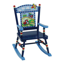 Levels of Discovery - Gettin' Around Rocker Chair - All aboard! Decorate your child's room with a transportation-themed children's blue rocking chair. The seat features bright primary colors,simple pictures and words for beginning readers,optional customization,and photo greeting 'thank you' card.