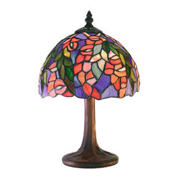 Warehouse of Tiffany - Tiffany-style Floral Table Lamp - Handcrafted using methods first developed by Louis Comfort Tiffany