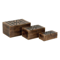 Benzara - Wood Metal Box with Detailed Metal Stripes - Set of 3 - Crafted with fine details, the Wood Metal Box S/3 12 in. , 10 in. , 8 in. W is available in a set of three, and offers three differently sized wood boxes. These boxes are lavished with an attractive, natural wood finish in a dark wood tone finish that elevates the visual appeal by several notches. Featuring a rectangular shape, these boxes have hinged lids and are a wonderful mix of style and classic elegance. The hinged box lids are decorated with intricately detailed metal stripes arranged in a neat geometric pattern. Decorative rivets along the sides of the wood box lids impart a look of finesse and oriental charm to the design. This set of beautiful wood boxes is carefully designed from high grade wood, which imparts durability and ensures lasting performance..
