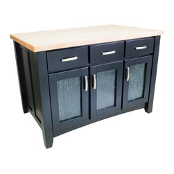Hardware Resources - Hardware Resources ISL07-BLK Black Kitchen Island, Without Top - This 52-1/2 in  x 33-1/8 in  x 35-1/2 in  furniture style island is manufactured using the highest quality furniture grade hardwoods and MDF. The island features six working drawers and cabinet storage on both sides and fully adjustable open shelves on the reverse side. Cabinet doors feature modern textured glass inserts. The drawers are dovetailed solid hardwood and are mounted on full extension soft-close undermount slides. Black finish is applied by hand.