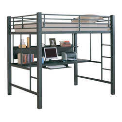 Coaster - Full Loft Bed w Desk - Way cool.  A space saving, very modern looking piece that serves two purposes.  Loft bed is atop a spacious desk with bookshelf and ergonomically placed keyboard tray.  It's organization made simple.  An exceptional workstation and sleeping quarters all in one! * Made from solid wood and metal. Double ladder access. Full bed on top. 3 in. tube framing is rugged in multiple finish choices. Computer desk with pullout keyboard tray. Large shelf provides room for decorative items, books, and study materials. Full length guard rails provide security. 80 in. L x 58 in. W x 72 in. H. Weight capacity: 200 lbs.. Warranty. Bunk Bed Warning. Please read before purchase.. NOTE: ivgStores DOES NOT offer assembly on loft beds or bunk beds.. Assembly instructions