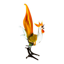 Spirit Pieces - Murano Lampwork Rooster Figurine - Great for Animal Figurine Collections - This lovely Rooster miniature glass figurine is handcrafted with love.  It's a great gift or any bird or nature lover.