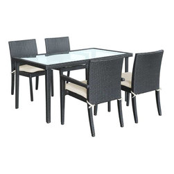 Modway - Viva 5 Piece Dining Set in Espresso - Introduce renewed momentum with this charged set. Viva celebrates life and happiness with this four espresso chairs and dining table set. Turn delicate beginnings into joy as you dine to all things good and ambitious.