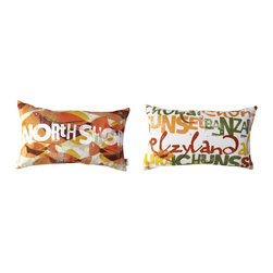 Kaypee Soh - North Shore Lumbar Pillow - Sunset - Oahu's North Shore takes you back in time, where fields fill the landscape and casual, vintage surf spots dot the aqua coastline.