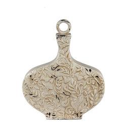 """Silver Nest - Brushed Ivory Vase- Medium- 15.5""""h - Antiqued Ivory Lidded Vase with Leaf and Vine Texture."""