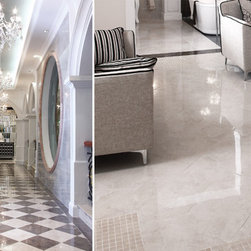 """Eleganza Tiles Perlato Polished Porcelain Tile - The beautiful polished porcelain available in 24""""x24"""", offers the look of real marble, but with the advantage of porcelain's durability and ease of maintenance."""