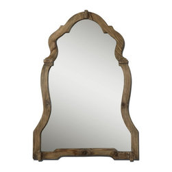 Uttermost - Uttermost 07632  Agustin Light Walnut Mirror - This ornate mirror features a light, walnut stained wood frame with burnished details.