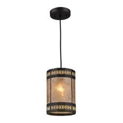 ELK Lighting - One Light Tiffany Bronze Drum Shade Mini Pendant - One Light Tiffany Bronze Drum Shade Mini Pendant