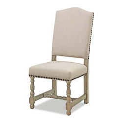 EttansPalace - Tudor High-Back Chair - A Tudor chair for the 21st century, this sophisticated, William and Mary-style work of furniture art boasts individual nail-heads accenting oatmeal-hued twill upholstery. Our transitional chair rises on slender baluster legs toward a crown-shaped pediment back. This is at home in the dining room or as an occasional chair wherever you have a stylish need.