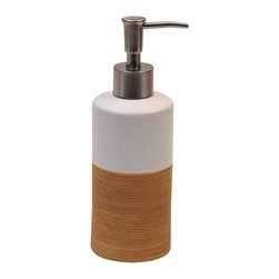 Stoneware Soap Dispenser, Ecobio White/Bamboo - This soap dispenser Bamboo for bathrooms is in stoneware. It is in white lacquer on the top and has a ribbed texture imitation Bamboo below for an optimal in-hand feel. The top unscrews for refilling with soap or lotion. Diameter 2.44-Inch and height 7.68-Inch. Wipe clean with a damp cloth. Color white and beige. Accessorize your bathroom countertop in a trendy style with this charming soap dispenser! Complete your Bamboo decoration with other products of the same collection. Imported.