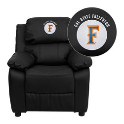 "Flash Furniture - Cal State Fullerton Titans Black Leather Kids Recliner with Storage Arms - Get young kids in the college spirit with this embroidered college recliner. Kids will now be able to enjoy the comfort that adults experience with a comfortable recliner that was made just for them! This chair features a strong wood frame with soft foam and then enveloped in durable leather upholstery for your active child. This petite sized recliner features storage arms so kids can store items away and retrieve at their convenience. Cal State Fullerton Embroidered Kids Recliner; Embroidered Applique on Headrest; Overstuffed Padding for Comfort; Easy to Clean Upholstery with Damp Cloth; Flip-Up Storage Arms; Storage Arm Size: 3.25""W x 6""D x 11""H; Solid Hardwood Frame; Raised Black Plastic Feet; Intended use for Children Ages 3-9; 90 lb. Weight Limit; Black LeatherSoft Upholstery; LeatherSoft is leather and polyurethane for added Softness and Durability; CA117 Fire Retardant Foam; Safety Feature: Will not recline unless child is in seated position and pulls ottoman 1"" out and then reclines; Overall dimensions: 25""W x 26"" - 39""D x 28""H"