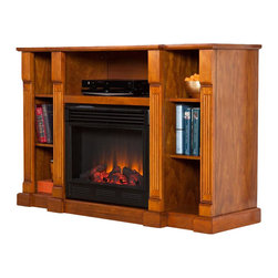Southern Enterprises - Murdock Media Electric Fireplace - Glazed Pine - Features 3 cord management openings, one per top shelf