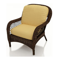 Forever Patio - Leona Wicker Patio Lounge Chair, Canvas Wheat Cushions - The Forever Patio Leona Outdoor Rattan Lounge Chair with Gold Sunbrella cushions (SKU FP-LEO-LC-MC-CW) is both comfortable and elegant with its roomy seating and sweeping curves. The mocha-colored wicker is UV-protected, and features two tones that give it a more natural, traditional look. Each strand of this outdoor wicker is made from High-Density Polyethylene (HDPE) and is infused with its rich color and UV-inhibitors that prevent cracking, chipping and fading ordinarily caused by sunlight. This patio lounge chair is supported by thick-gauged, powder-coated aluminum frames that make it more durable than natural rattan. This chair includes fade- and mildew-resistant Sunbrella cushions, adding comfort to your outdoor space.